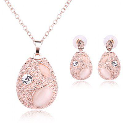 Faux Opal Rhinestone Water Drop Pendant Necklace and Earrings