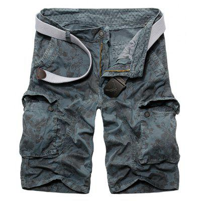 Casual Loose Fit Zip Fly Camo Multi-Pockets Cargo Shorts For Men
