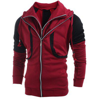 Hooded Color Block Splicing Double Zipper Design Faux Twinset Long Sleeve Men's Hoodie