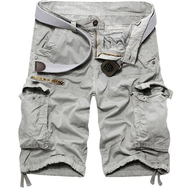 Loose Fit Casual Multi-Pockets Zip Fly Solid Color Cargo Shorts For Men