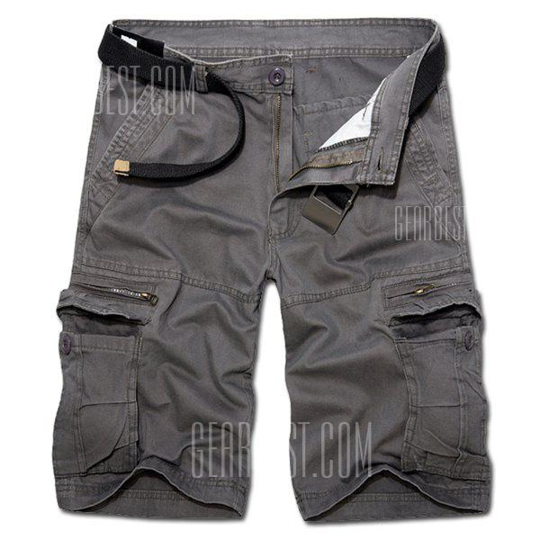 Casual Loose Fit Multi-Pockets Zip Fly Solid Color Cargo Shorts For Men