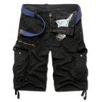 Loose Fit Casual Multi-Pockets Zip Fly Solid Color Cargo Shorts For Men - PRETO