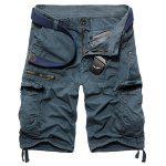 Loose Fit Casual Multi-Pockets Zip Fly Solid Color Cargo Shorts For Men - LIGHT BLUE