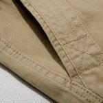 Casual Loose Fit Multi-Pockets Zip Fly Solid Color Cargo Shorts For Men - KHAKI