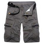 Casual Loose Fit Multi-Pockets Zip Fly Solid Color Cargo Shorts For Men - CINZA ESCURO