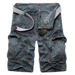 Casual Loose Fit Zip Fly Camo Multi-Pockets Cargo Shorts For Men - Светло-синий