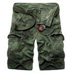 Casual Loose Fit Zip Fly Camo Multi-Pockets Cargo Shorts For Men - Зеленый армейский