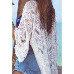 Stylish 3/4 Sleeve Mesh Long Cover Up For Women - WHITE