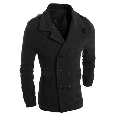 Turn-Down Collar Solid Color Epaulet Design Long Sleeve Men's Woolen Blend Coat