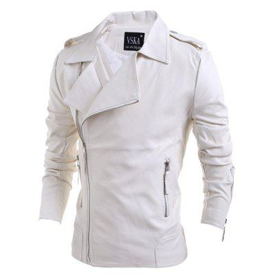 Turn-Down Collar Zipper PU-Leather Long Sleeve Jacket For Men