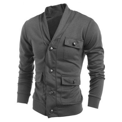 Turn-Down Collar Single Breasted Pockets Embellished Long Sleeve Jacket For Men