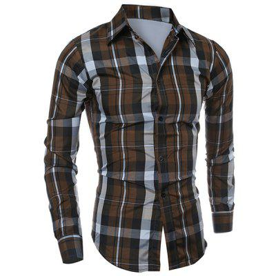 Casual Turn-down Collar Color Block Checked Print Slimming Men's Long Sleeves Shirt