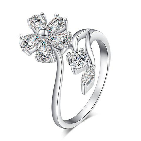 Charming Rhinestone Flower Hollow Out Ring For Women