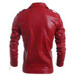 Turn-Down Collar Zipper PU-Leather Long Sleeve Jacket For Men - RED