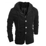Drawstring Hooded Patch Pocket Faux Twinset Long Sleeve Men's Jacket - BLACK