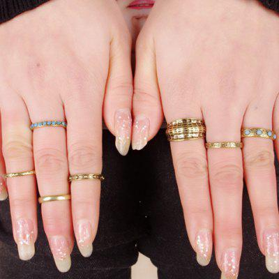 A Suit of Retro Punk Rhinestone Matte Rings For Women
