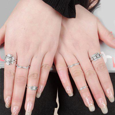 A Suit of Retro Rhinestone Decorated Rings For Women