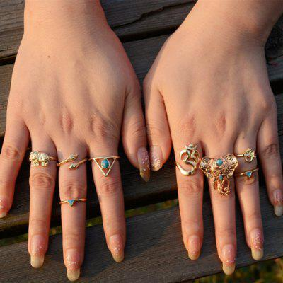 A Suit of Graceful Faux Turquoise Elephant Triangle Hollow Out Rings For Women