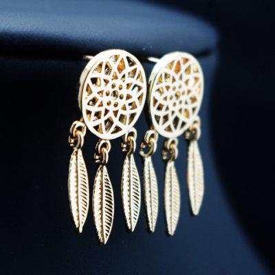 Pair of Feather Round Hollow Out Drop Earrings