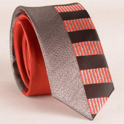 Stylish Silver Thread Wide Stripe Pattern 6CM Width Red Tie For Men