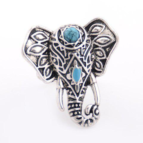Ethnic Faux Turquoise Elephant Ring SILVER