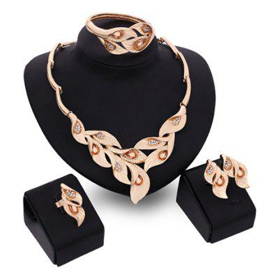 A Suit of Noble Faux Crystal Leaf Shape Necklace Bracelet Ring and Earrings For Women