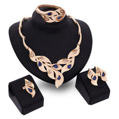 A Suit of Noble Faux Sapphire Leaf Shape Necklace Bracelet Ring and Earrings For Women