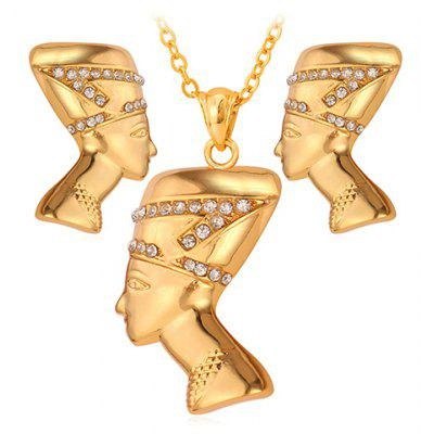 A Suit of Vintage Rhinestone Pharaoh Shape Pendant Necklace and Earrings For Women