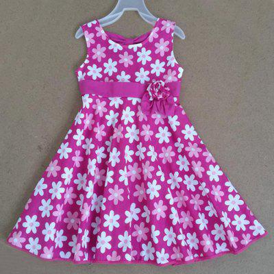 Sweet Sleeveless Round Neck Floral Print Girl's Flare Dress