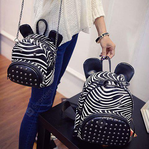 Stylish Zebra-Stripe and Rivets Design Satchel For Women