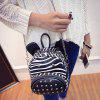 Stylish Zebra-Stripe and Rivets Design Satchel For Women - BLACK