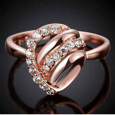 Romantic Rhinestoned Hollow Out Valentine's Day Gift Ring For Women