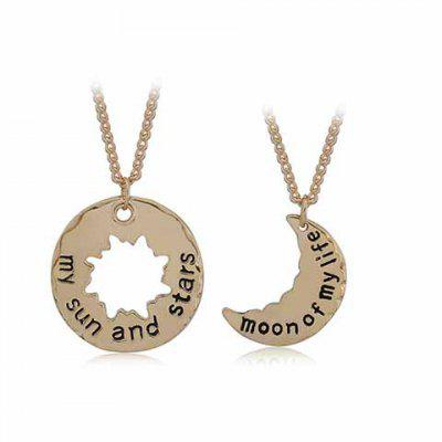 A Suit of Delicate Sun and Moon Valentine's Day Gift Pendant Necklace For Lovers