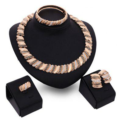 A Suit of Charming Rhinestone Hollow Out Necklace Bracelet Ring and Earrings For Women