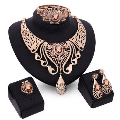 A Suit of Charming Faux Crystal Water Drop Necklace Bracelet Ring and Earrings For Women