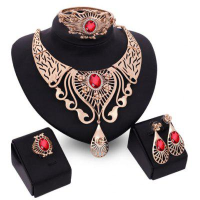 A Suit of Faux Ruby Water Drop Jewelry Set