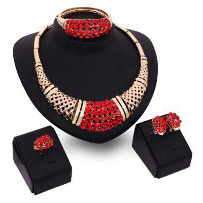 A Suit of Charming Red Rhinestone Bamboo Necklace Bracelet Ring and Earrings For Women