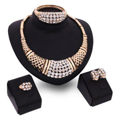 A Suit of Charming Rhinestone Bamboo Necklace Bracelet Ring and Earrings For Women
