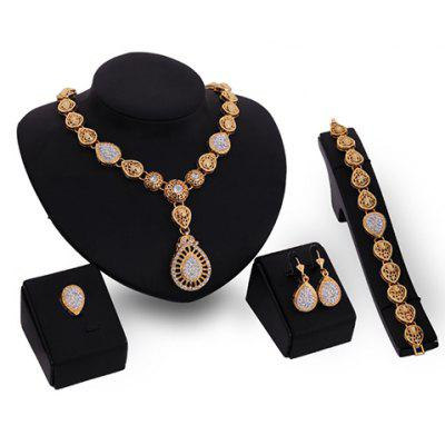 Rhinestoned Water Drop Jewelry Set