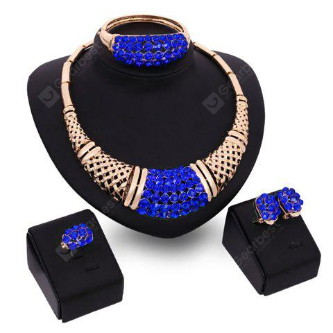 A Suit of Charming Sapphire Rhinestone Bamboo Necklace Bracelet Ring and Earrings For Women