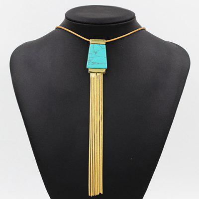 Ethnic Faux Turquoise Link Chain Tassel Necklace