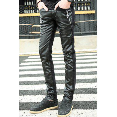 Narrow Feet Zipper Embellished PU-Leather Splicing Zipper Fly Men's Pants