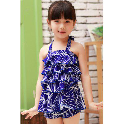 Sweet Halter Flounced Printed Girl's One-Piece Swimwear