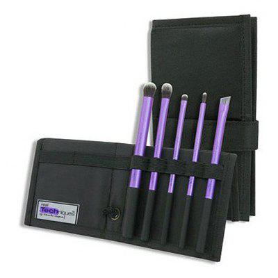 Stylish 5 Pcs Fiber Eye Makeup Brushes Set with Black Brush Bag