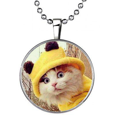 Kitten Noctilucent Round Pendant Necklace