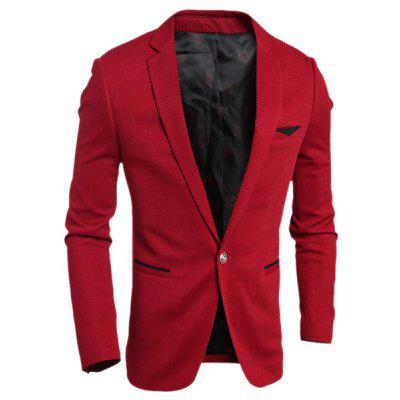 Elegant Turn-Down Collar Color Block Purfled Pocket Slimming Long Sleeve Men's Blazer