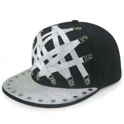 Stylish Strappy and Stud Embellished Black Baseball Cap For Men and Women