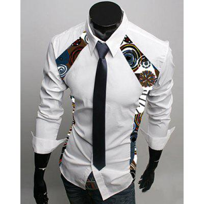 Slimming Turn-Down Collar Floral Print Splicing Long Sleeve White Shirt For Men