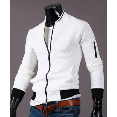 Stand Collar Zipper Pocket Color Block Rib Splicing Long Sleeve Men's Jacket