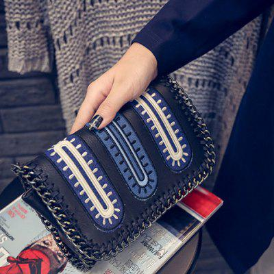 Stylish Weaving and Color Block Design Crossbody Bag For Women